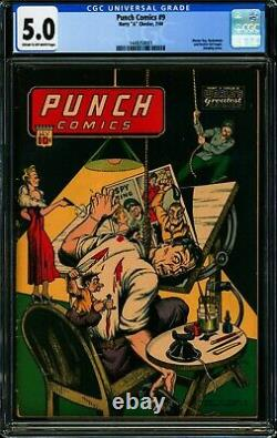 PUNCH COMICS #9 CGC 5.0 VG/FN Golden Age Pre-Code Horror, Hanging Cover, 1944