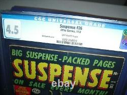 Suspense #26 CGC 4.5 with OW pages from 1953! Atlas Pre Code Horror Comic not CBCS